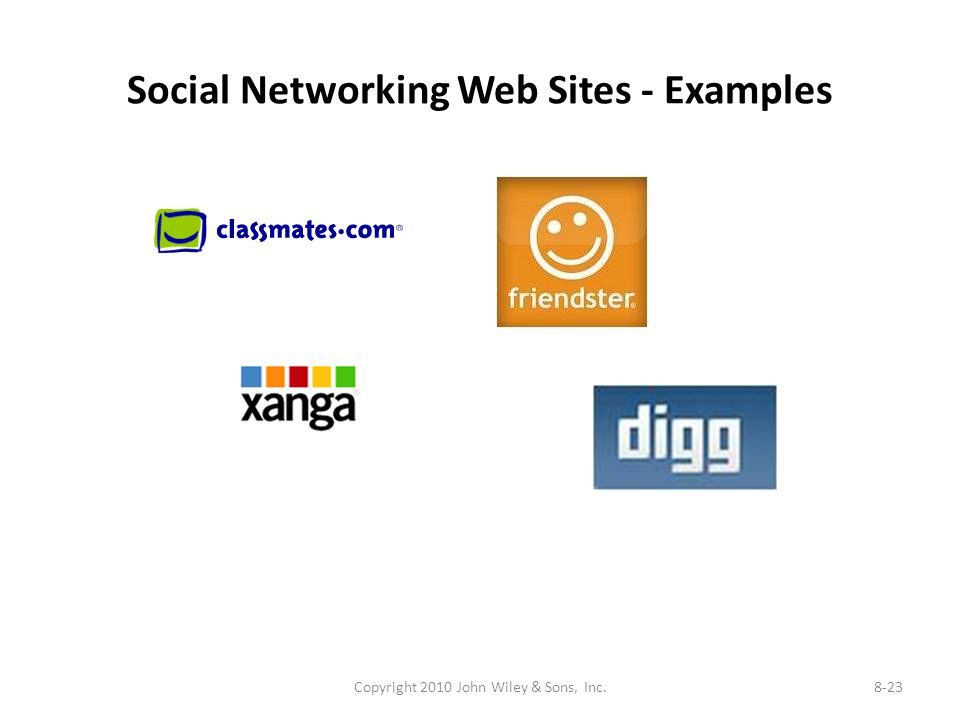 Social Networking Web Sites - Examples Copyright 2010 John Wiley & Sons, Inc.8-23