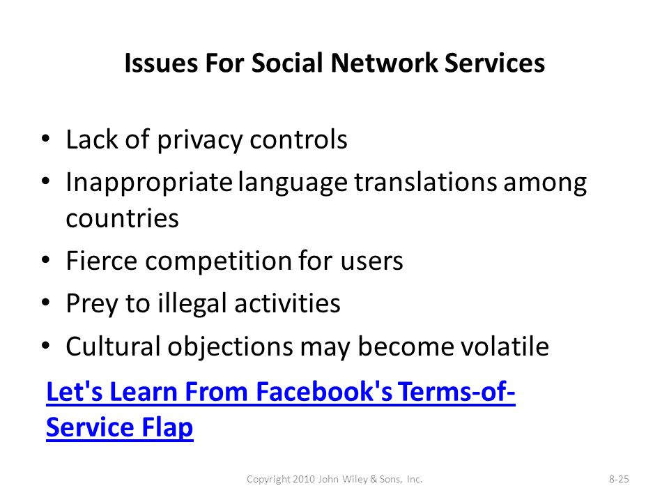 Issues For Social Network Services Lack of privacy controls Inappropriate language translations among countries Fierce competition for users Prey to illegal activities Cultural objections may become volatile Copyright 2010 John Wiley & Sons, Inc.8-25 Let s Learn From Facebook s Terms-of- Service Flap