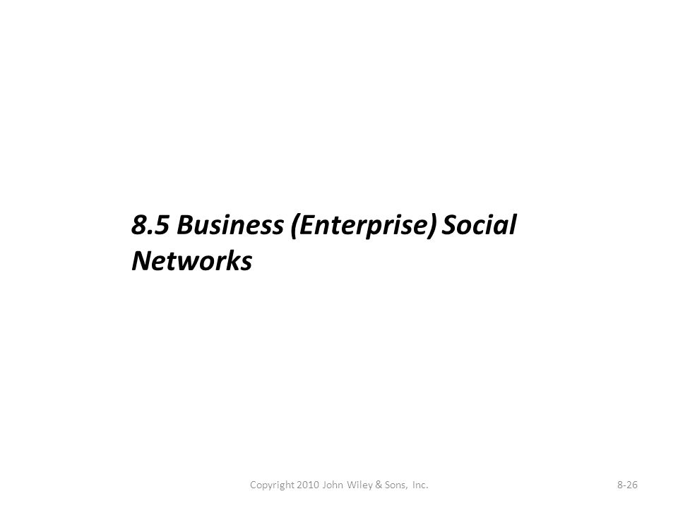 Copyright 2010 John Wiley & Sons, Inc.8-26 8.5 Business (Enterprise) Social Networks