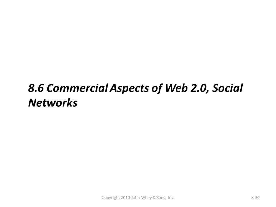 Copyright 2010 John Wiley & Sons, Inc.8-30 8.6 Commercial Aspects of Web 2.0, Social Networks