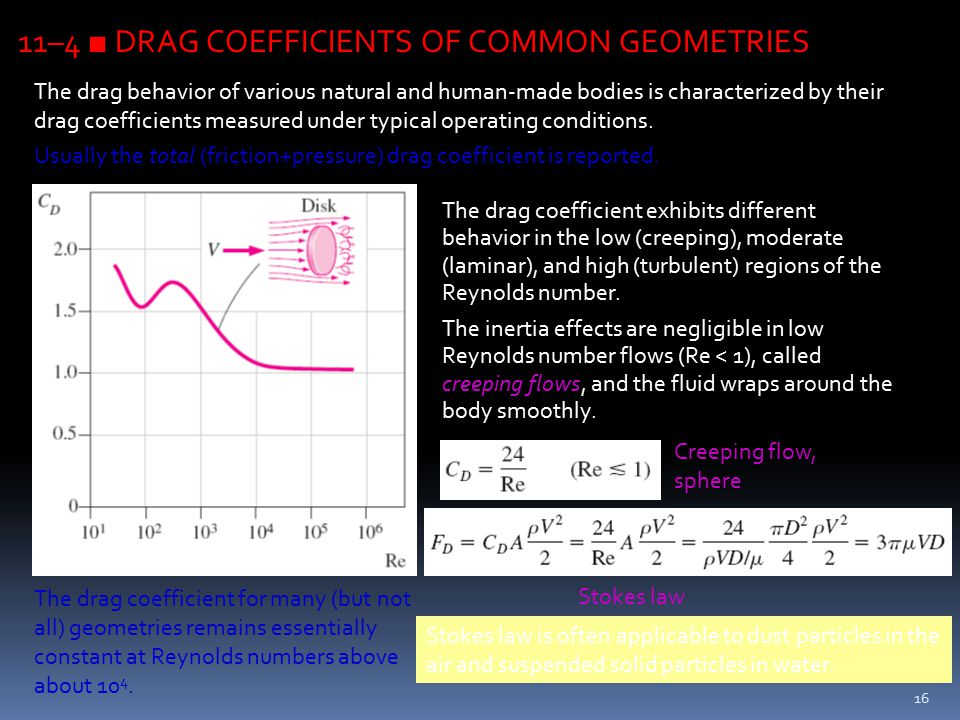 16 11–4 ■ DRAG COEFFICIENTS OF COMMON GEOMETRIES The drag behavior of various natural and human-made bodies is characterized by their drag coefficient