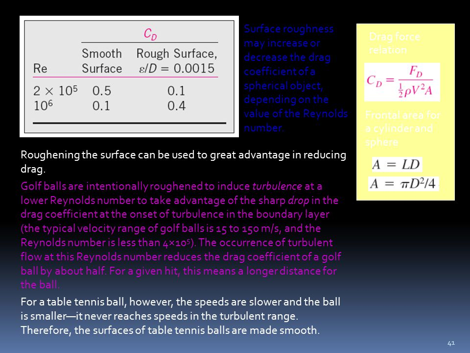 41 Surface roughness may increase or decrease the drag coefficient of a spherical object, depending on the value of the Reynolds number. Roughening th