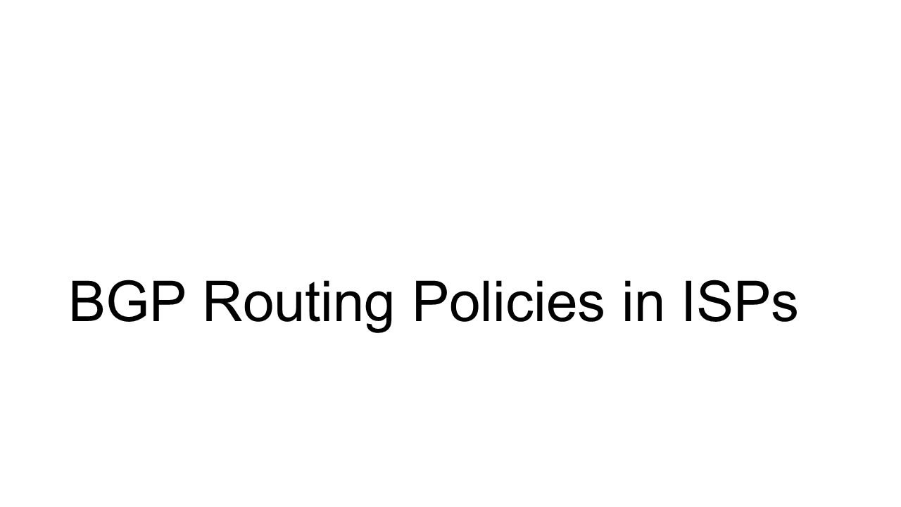 BGP Routing Policies in ISPs