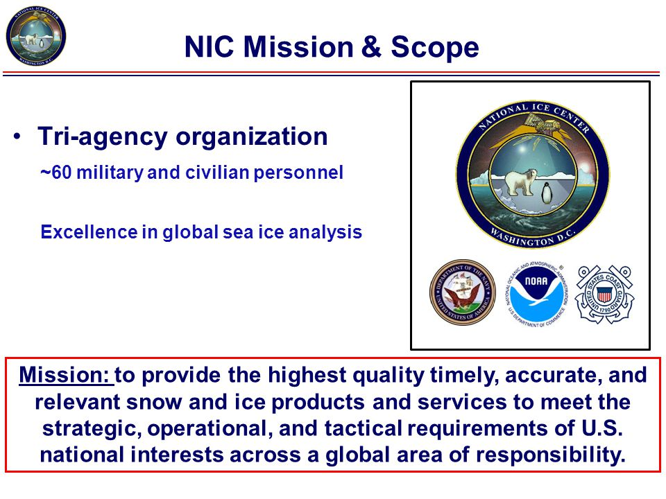 Mission/Goal Supported Battlespace Awareness SA / ISR / I&W Scientific Research Maritime Shipping Commercial Fisheries Oceanographic and Atmospheric Models (NWP) Safety of Life and Property At Sea Safety of Navigation WWW, Navy Message Traffic, Secure Network, INMARSAT, Iridium USCG MSC NWS NSF Local Gov.