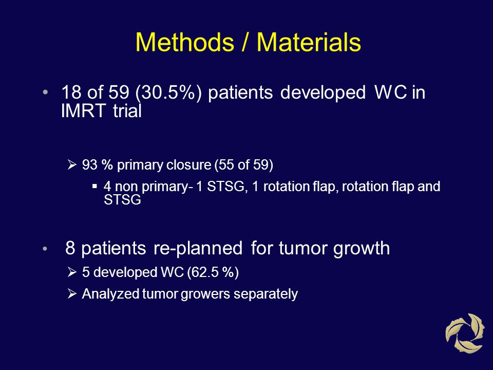 Methods / Materials 18 of 59 (30.5%) patients developed WC in IMRT trial  93 % primary closure (55 of 59)  4 non primary- 1 STSG, 1 rotation flap, r