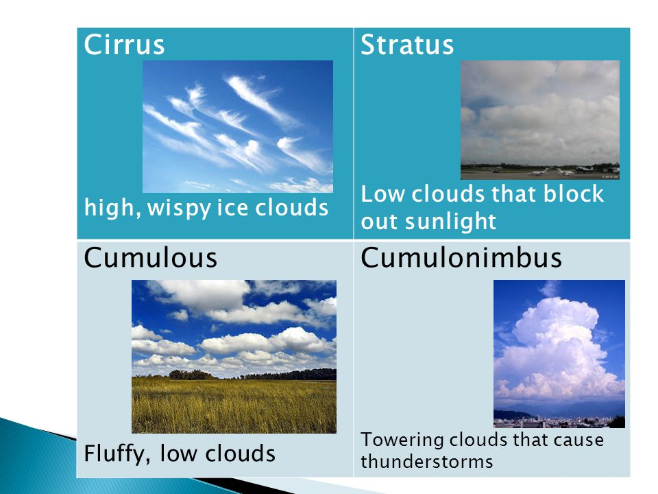 Cirrus high, wispy ice clouds Stratus Low clouds that block out sunlight Cumulous Fluffy, low clouds Cumulonimbus Towering clouds that cause thunderstorms