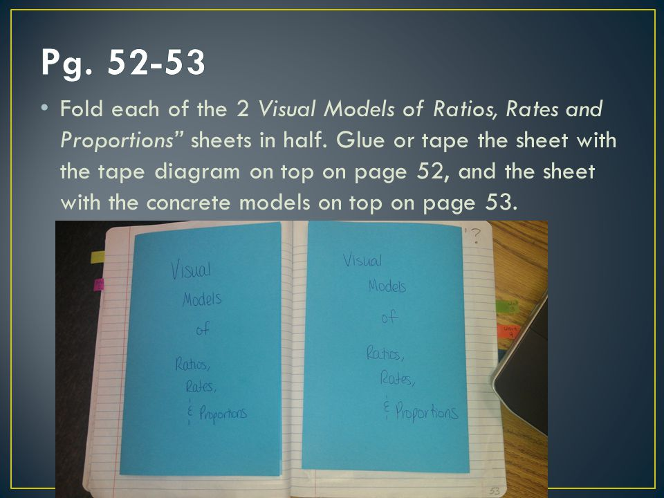 "Fold each of the 2 Visual Models of Ratios, Rates and Proportions"" sheets in half. Glue or tape the sheet with the tape diagram on top on page 52, and"