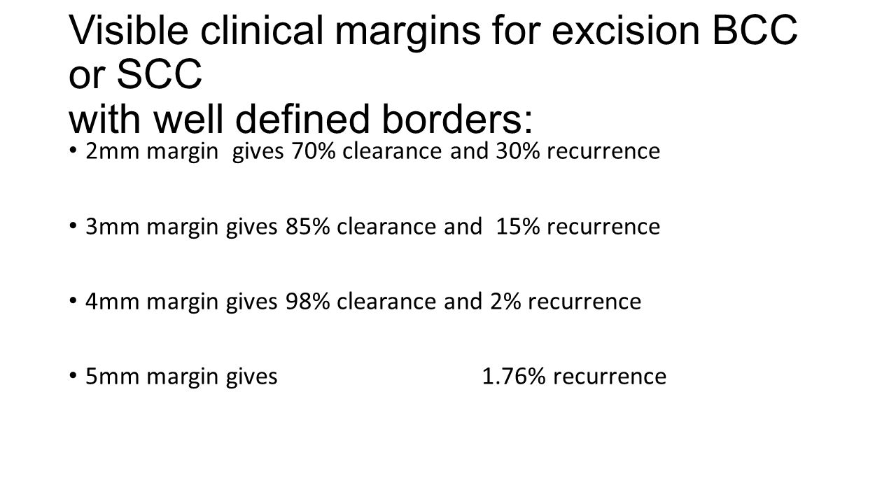 Visible clinical margins for excision BCC or SCC with well defined borders: 2mm margin gives 70% clearance and 30% recurrence 3mm margin gives 85% clearance and 15% recurrence 4mm margin gives 98% clearance and 2% recurrence 5mm margin gives 1.76% recurrence