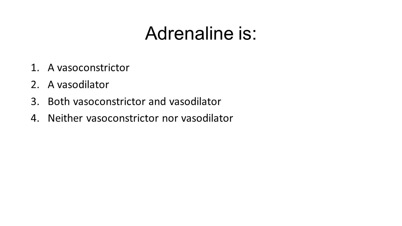 Adrenaline is: 1.A vasoconstrictor 2.A vasodilator 3.Both vasoconstrictor and vasodilator 4.Neither vasoconstrictor nor vasodilator