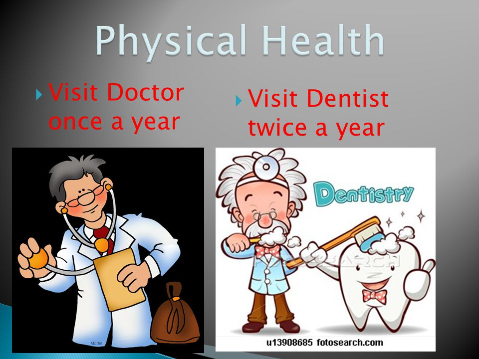  Visit Doctor once a year  Visit Dentist twice a year