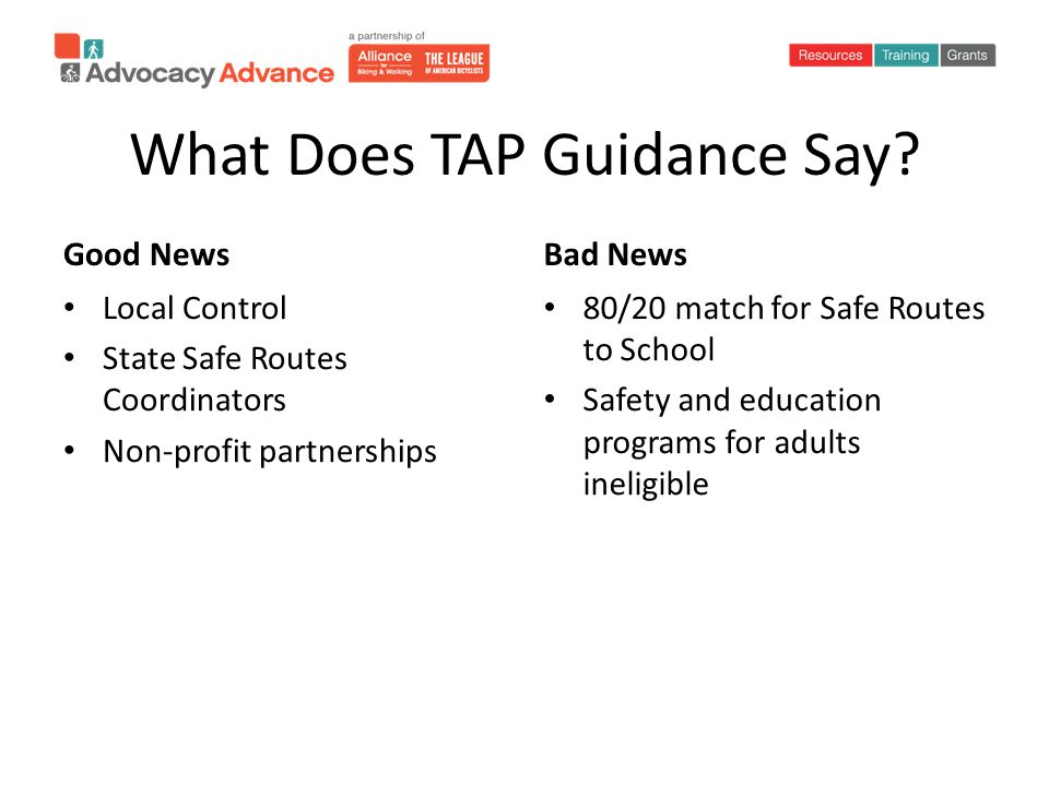 What Does TAP Guidance Say.