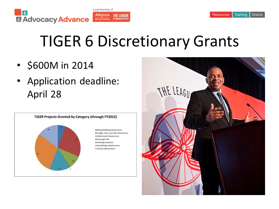 TIGER 6 Discretionary Grants $600M in 2014 Application deadline: April 28
