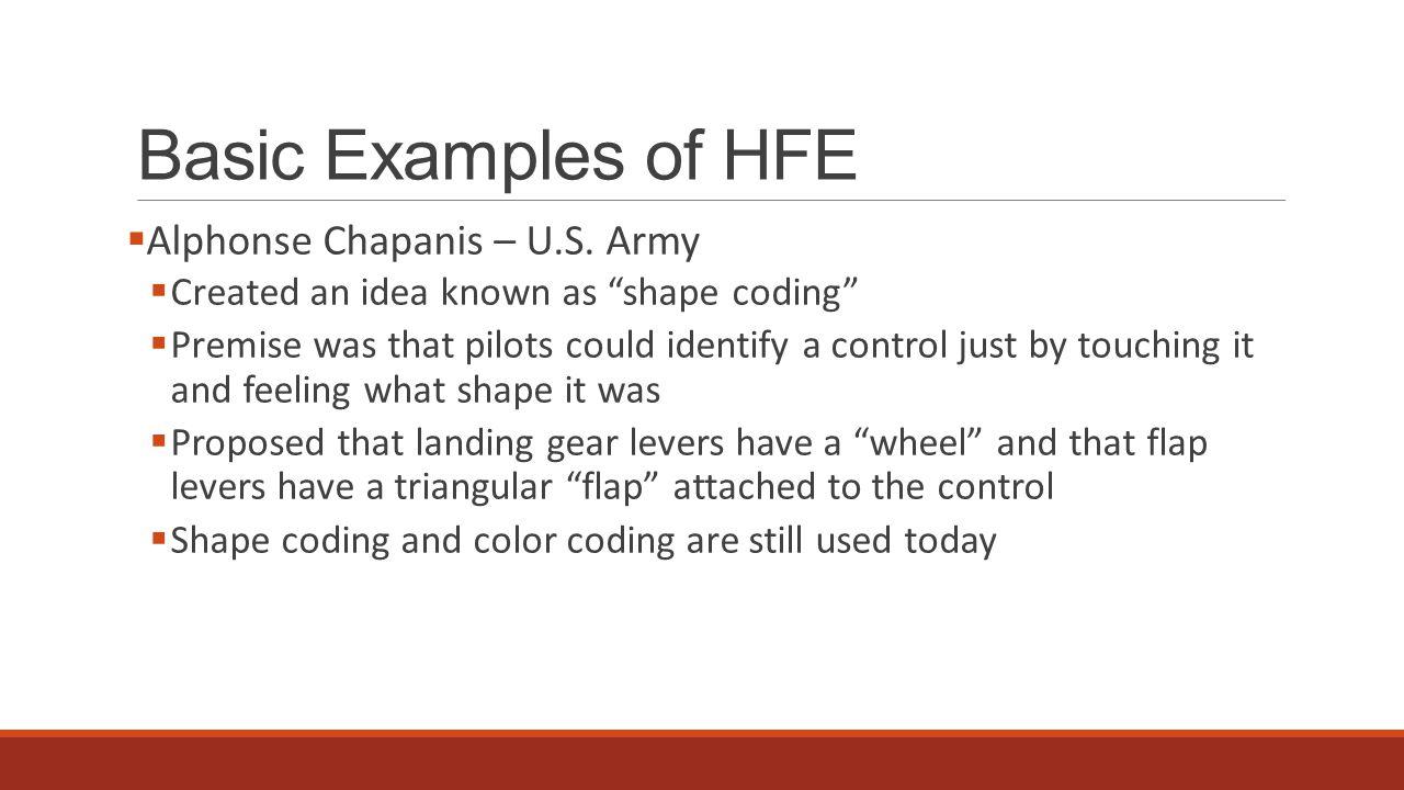 Basic Examples of HFE  Alphonse Chapanis – U.S.