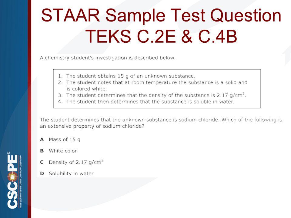 STAAR Sample Test Question TEKS C.2E & C.4B