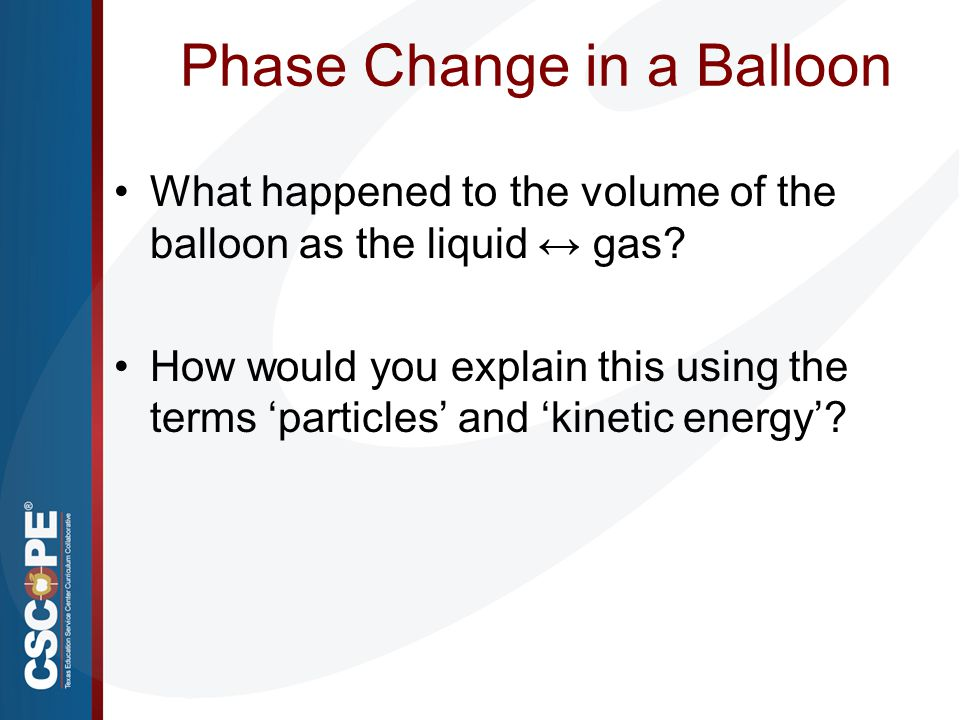 Phase Change in a Balloon What happened to the volume of the balloon as the liquid ↔ gas? How would you explain this using the terms 'particles' and '
