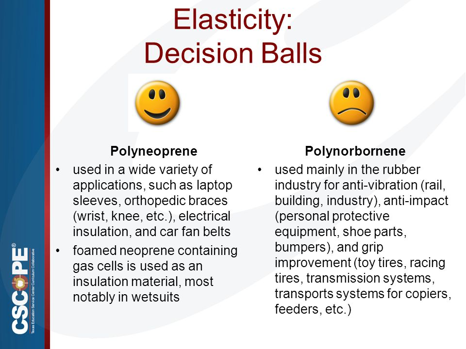 Elasticity: Decision Balls Polynorbornene used mainly in the rubber industry for anti-vibration (rail, building, industry), anti-impact (personal prot