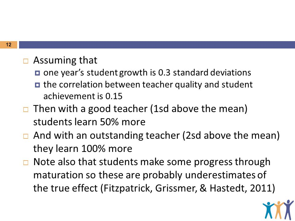 12  Assuming that  one year's student growth is 0.3 standard deviations  the correlation between teacher quality and student achievement is 0.15 