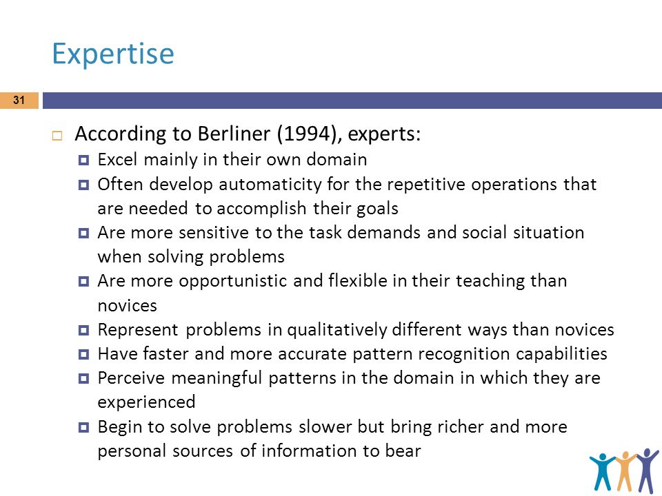 Expertise  According to Berliner (1994), experts:  Excel mainly in their own domain  Often develop automaticity for the repetitive operations that