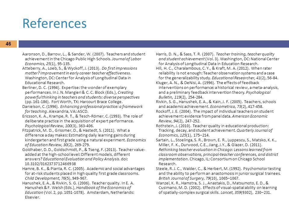 References Aaronson, D., Barrow, L., & Sander, W.(2007).