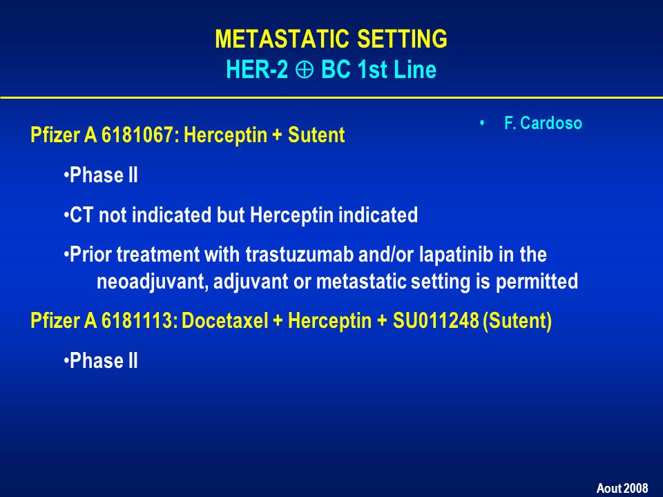 Aout 2008 Pfizer A 6181067: Herceptin + Sutent Phase II CT not indicated but Herceptin indicated Prior treatment with trastuzumab and/or lapatinib in the neoadjuvant, adjuvant or metastatic setting is permitted Pfizer A 6181113: Docetaxel + Herceptin + SU011248 (Sutent) Phase II F.