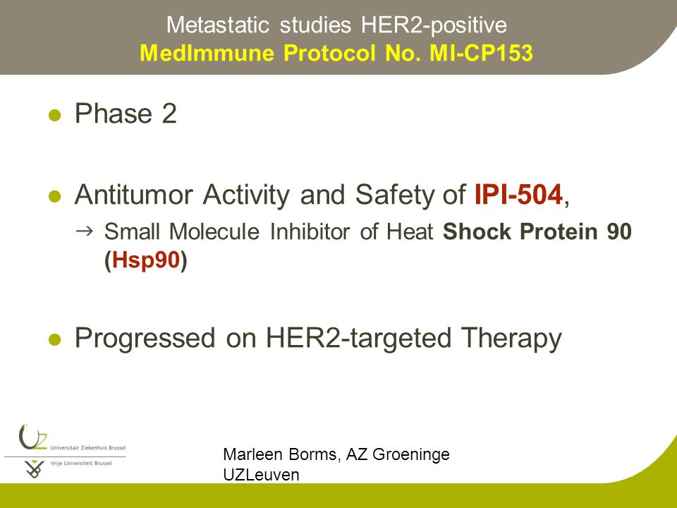 Metastatic studies HER2-positive MedImmune Protocol No.
