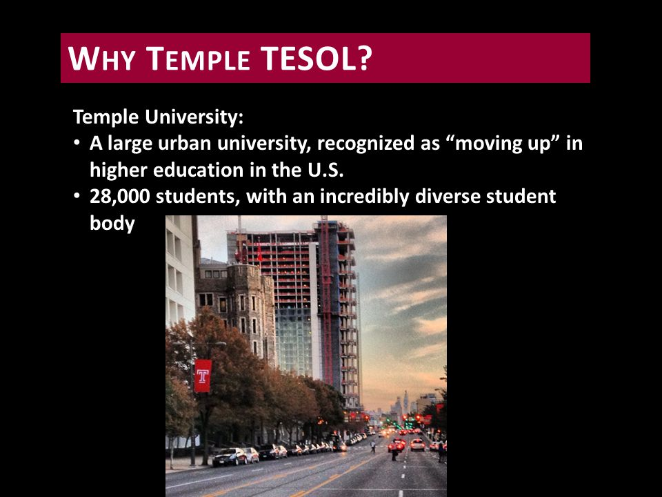 Temple University: A large urban university, recognized as moving up in higher education in the U.S.