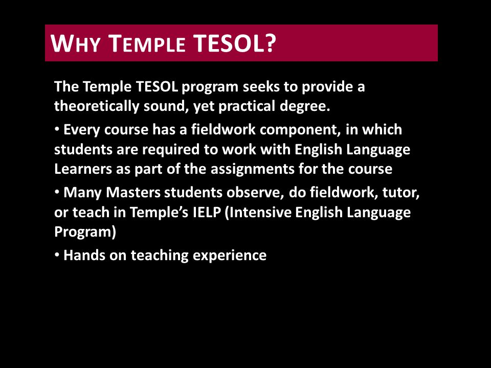 Diverse Student Body.TESOL students at Temple are a rich mix of U.S.