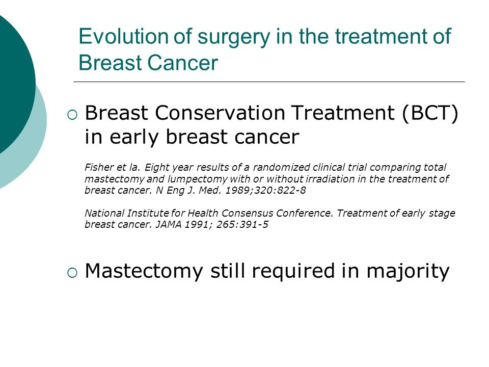 Evolution of surgery in the treatment of Breast Cancer  Breast Conservation Treatment (BCT) in early breast cancer Fisher et la. Eight year results o