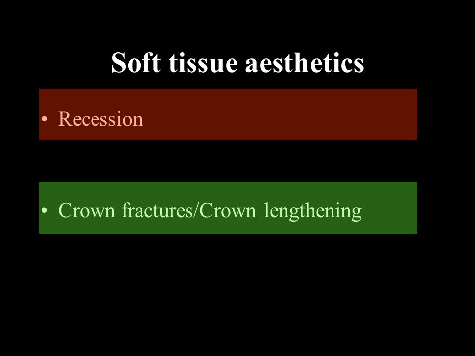 Gingival recession  Indications for surgical correction include:  increases in recession  Persistent inflammation  dentinal hypersensitivity  aesthetic concerns of the patient  Early Caries  Age