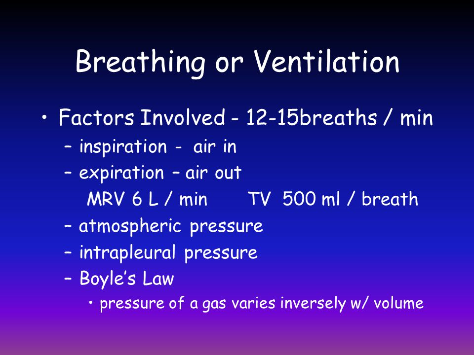 Control of Respiration Phrenic and Intercostal Nerves – move diaphragm and ribs Respiratory Centers –medulla - respiratory rhythm 12-18 breaths/min –pons - transition from expiration to inspiration Factors influencing respiratory rate –physical exercising, talking, coughing, body temp.