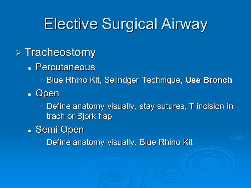 Elective Surgical Airway  Tracheostomy Percutaneous Percutaneous Blue Rhino Kit, Selindger Technique, Use BronchBlue Rhino Kit, Selindger Technique,