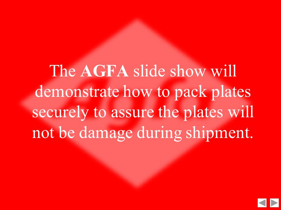 AGFA's Packing Plates Instructions