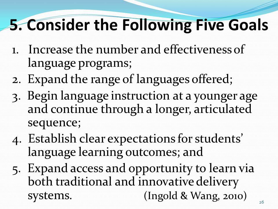5. Consider the Following Five Goals 1.