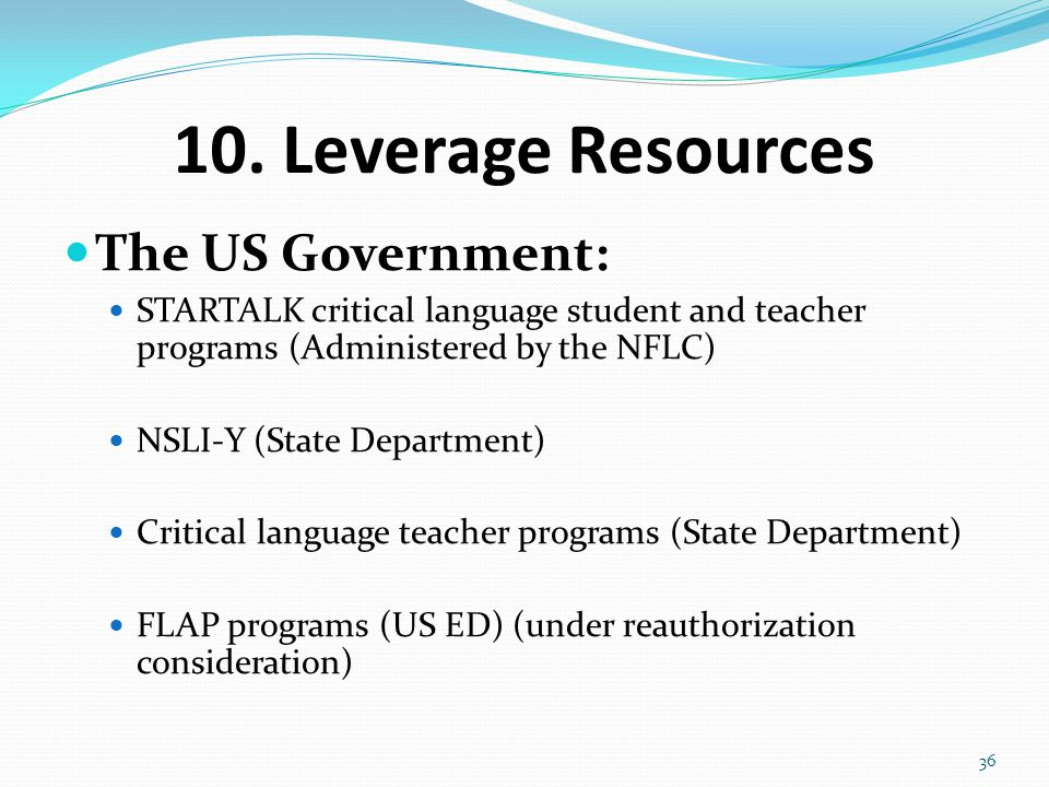 10. Leverage Resources The US Government: STARTALK critical language student and teacher programs (Administered by the NFLC) NSLI-Y (State Department)