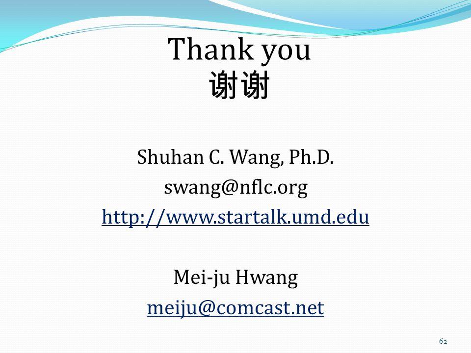 Thank you 谢谢 Shuhan C. Wang, Ph.D.