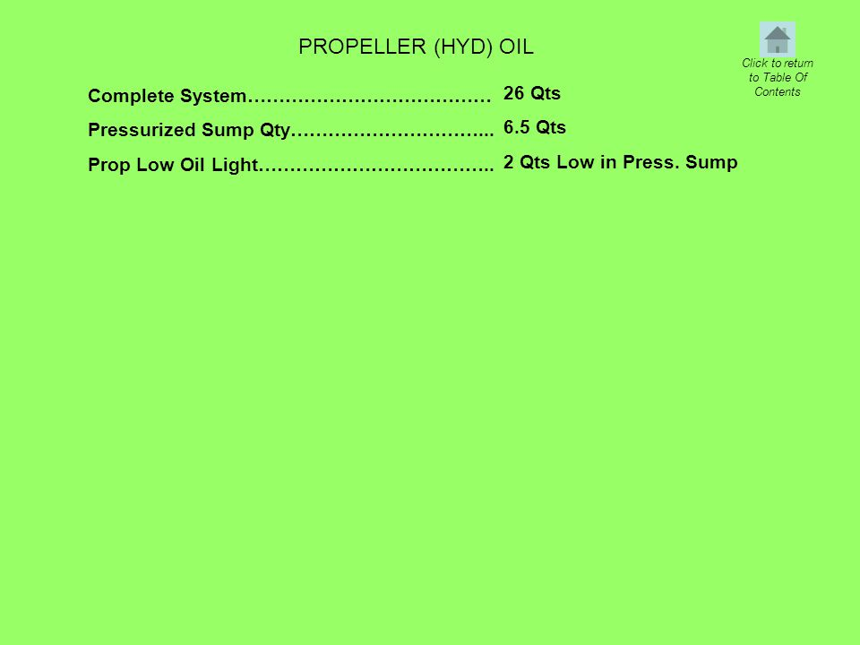PROPELLER (HYD) OIL Complete System………………………………… Pressurized Sump Qty…………………………... Prop Low Oil Light……………………………….. 26 Qts 6.5 Qts 2 Qts Low in Press.