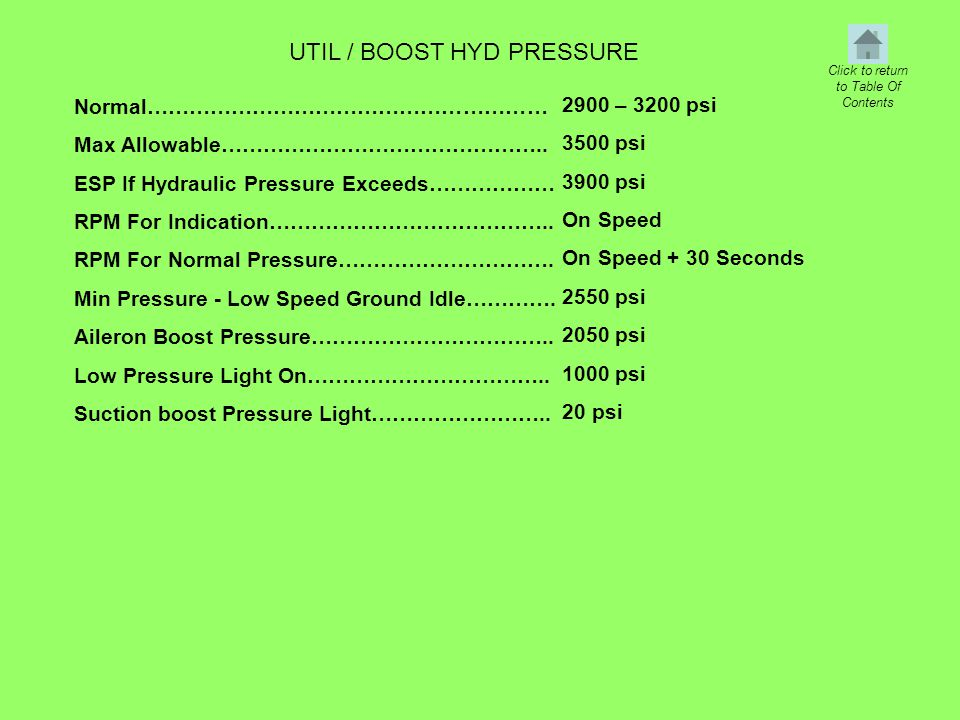 UTIL / BOOST HYD PRESSURE Normal………………………………………………… Max Allowable……………………………………….. ESP If Hydraulic Pressure Exceeds……………… RPM For Indication………………………