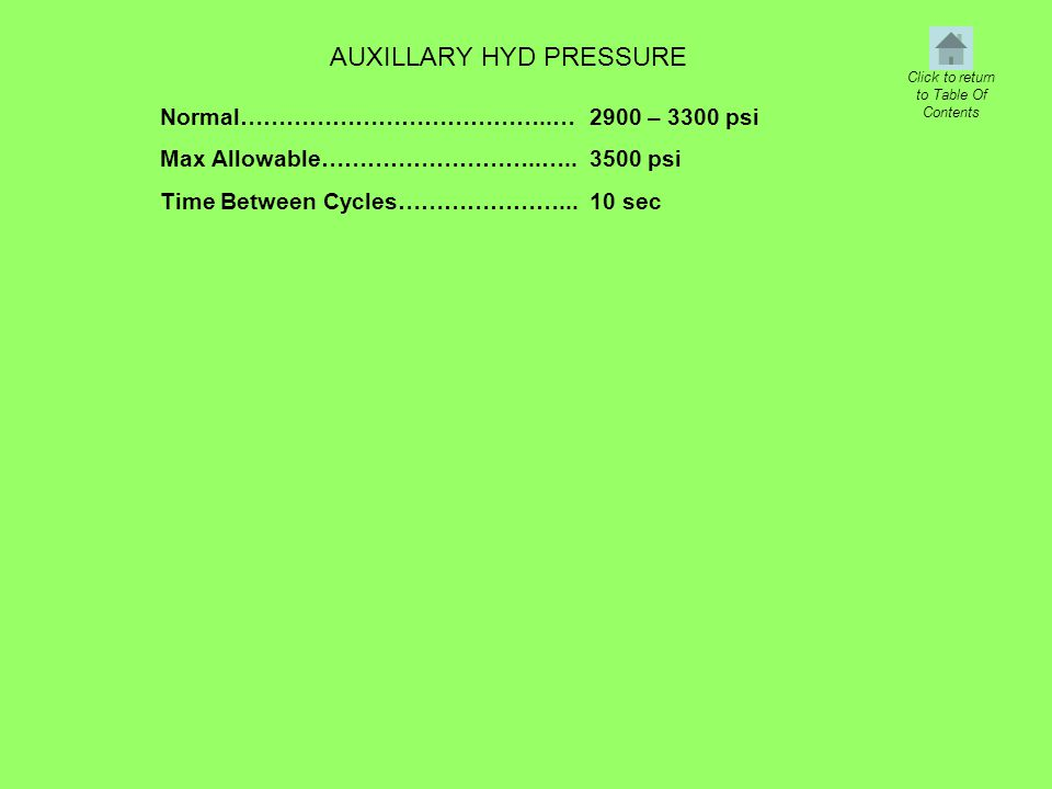 Normal…………………………………..… Max Allowable………………………..….. Time Between Cycles…………………... AUXILLARY HYD PRESSURE Click to return to Table Of Contents 2900 – 33