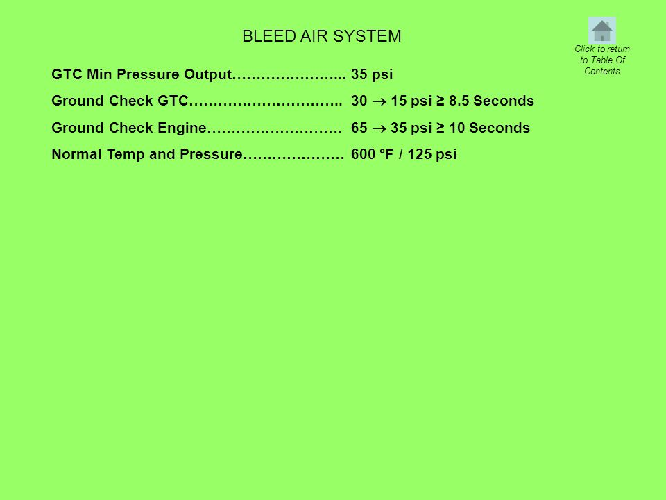 BLEED AIR SYSTEM GTC Min Pressure Output…………………... Ground Check GTC………………………….. Ground Check Engine………………………. Normal Temp and Pressure………………… 35 psi 3
