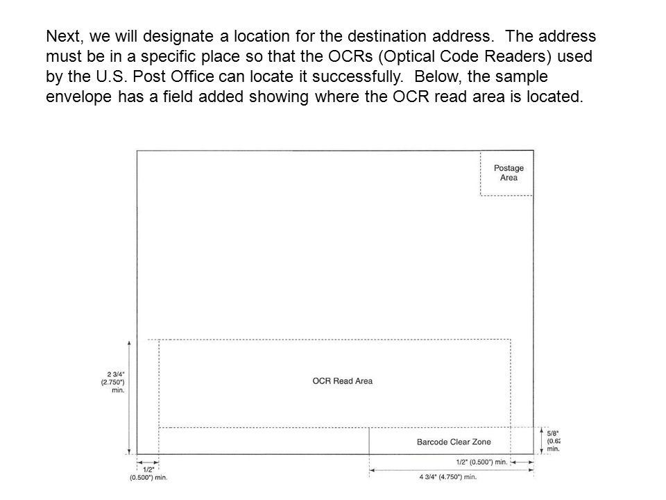 The OCR Read Area, unlike the BCZ, is not defined by a standard size but by the size of the envelope itself.