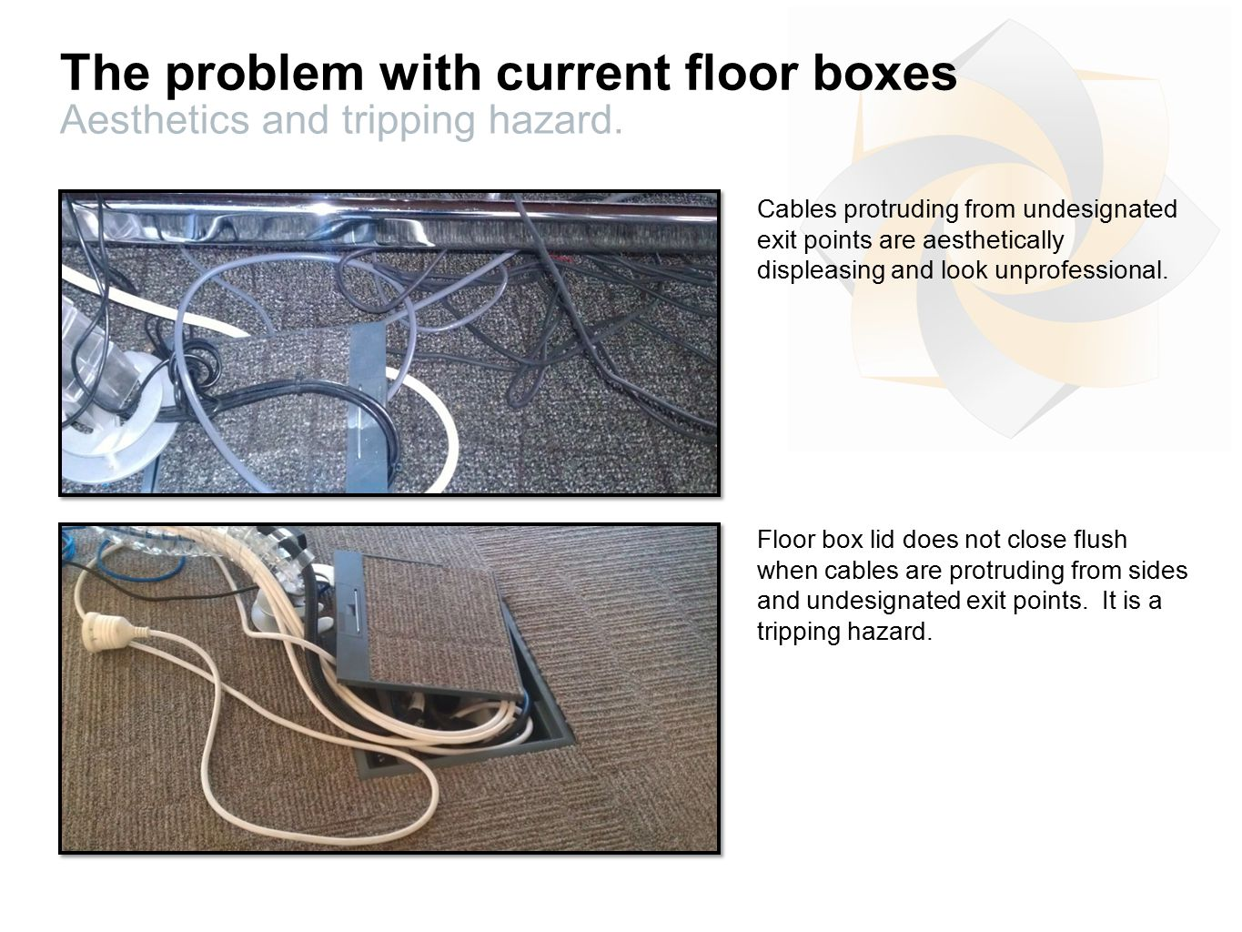 The problem with current floor boxes Aesthetics and tripping hazard.