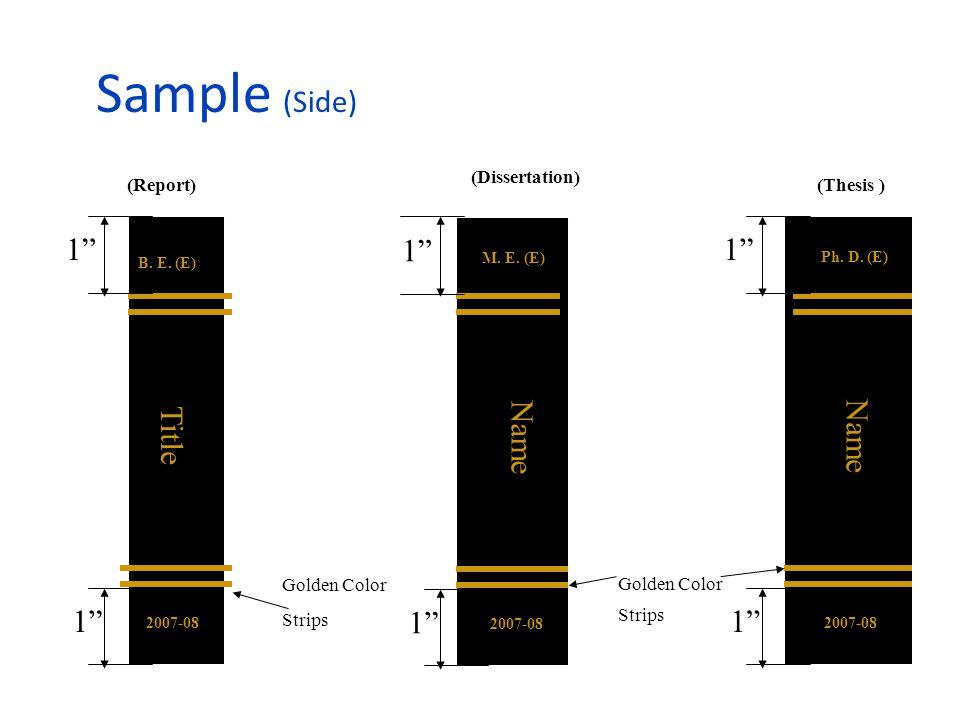 Sample (Side) Golden Color Strips 1 B. E. (E) 2007-08 Title Golden Color Strips 1 M.