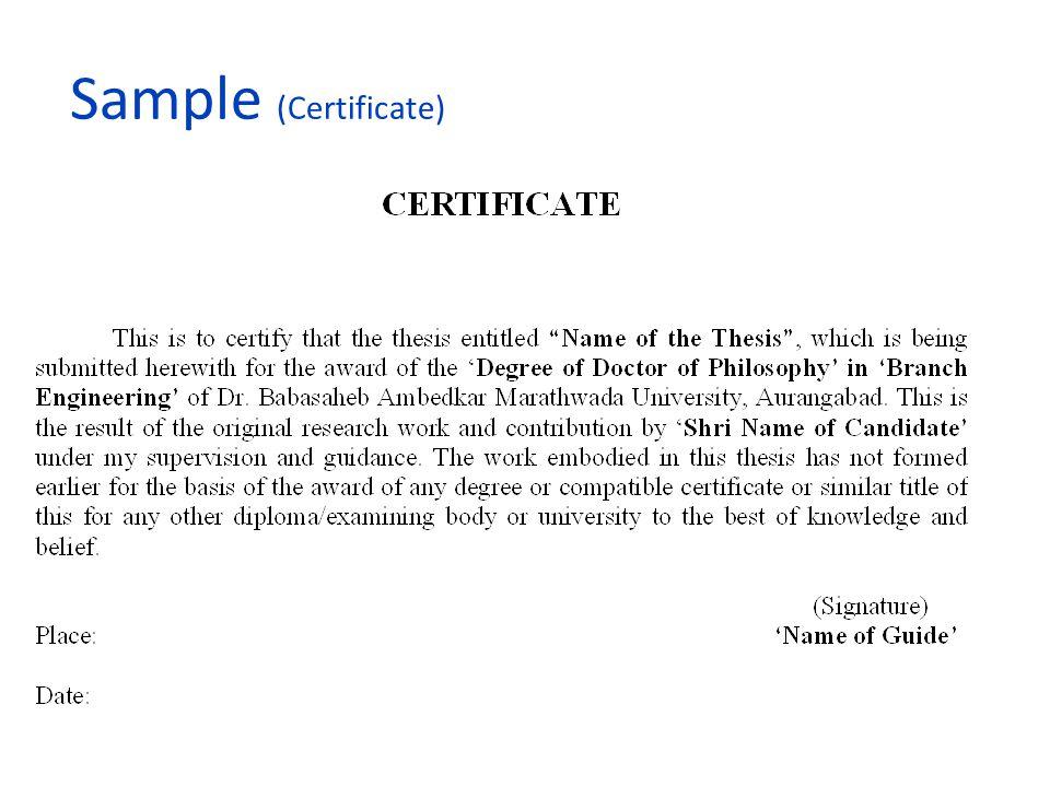 Sample (Certificate)