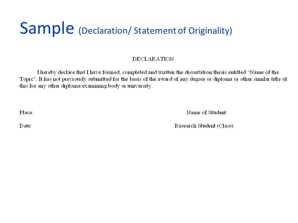 Sample (Declaration/ Statement of Originality)