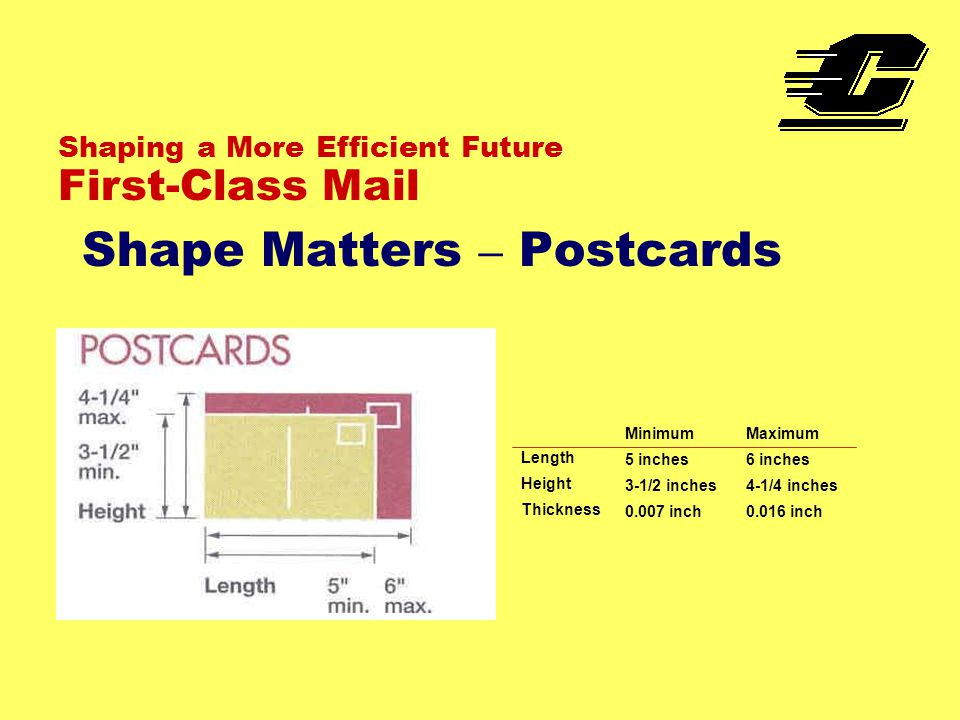 Shape Matters – Postcards Shaping a More Efficient Future First-Class Mail Length Height Thickness Minimum 5 inches 3-1/2 inches 0.007 inch Maximum 6 inches 4-1/4 inches 0.016 inch