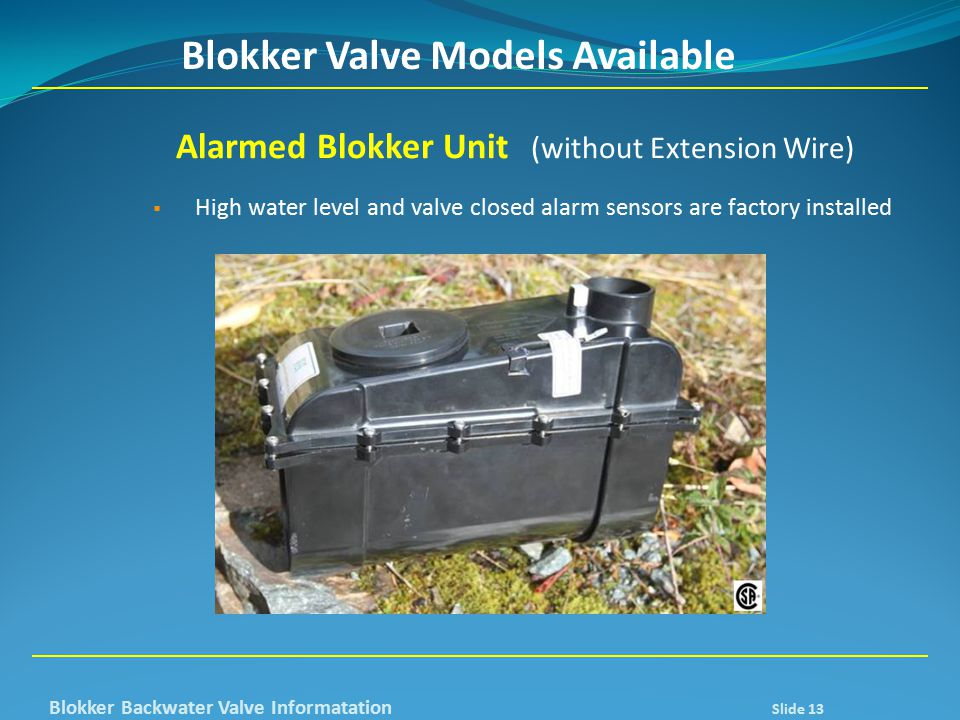 Blokker Valve Models Available Alarmed Blokker Unit (without Extension Wire)  High water level and valve closed alarm sensors are factory installed B