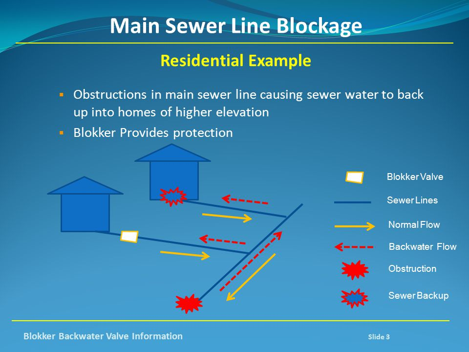 Main Sewer Line Blockage Residential Example  Obstructions in main sewer line causing sewer water to back up into homes of higher elevation  Blokker