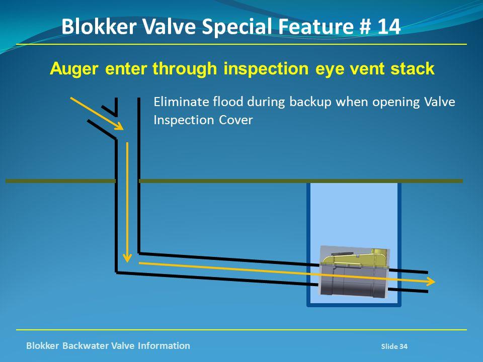 Auger enter through inspection eye vent stack Eliminate flood during backup when opening Valve Inspection Cover Blokker Valve Special Feature # 14 Blo