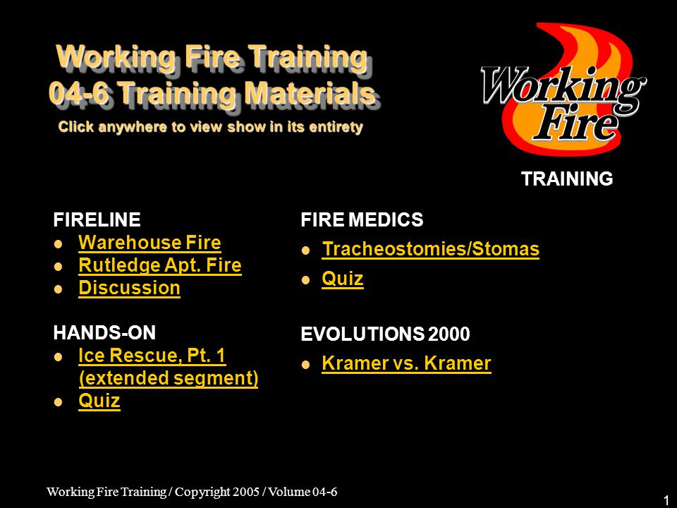 Working Fire Training / Copyright 2005 / Volume 04-6 2 SIZE-UP: Crushed stone warehouse building fully involved upon arrival –Metal construction; holding tremendous heat Lots of flammable material on premises No sprinklers or alarms Ultimate cause of fire: electrical box malfunction Fireline Incident: Charlestown Warehouse Fire 04-6 Training Materials