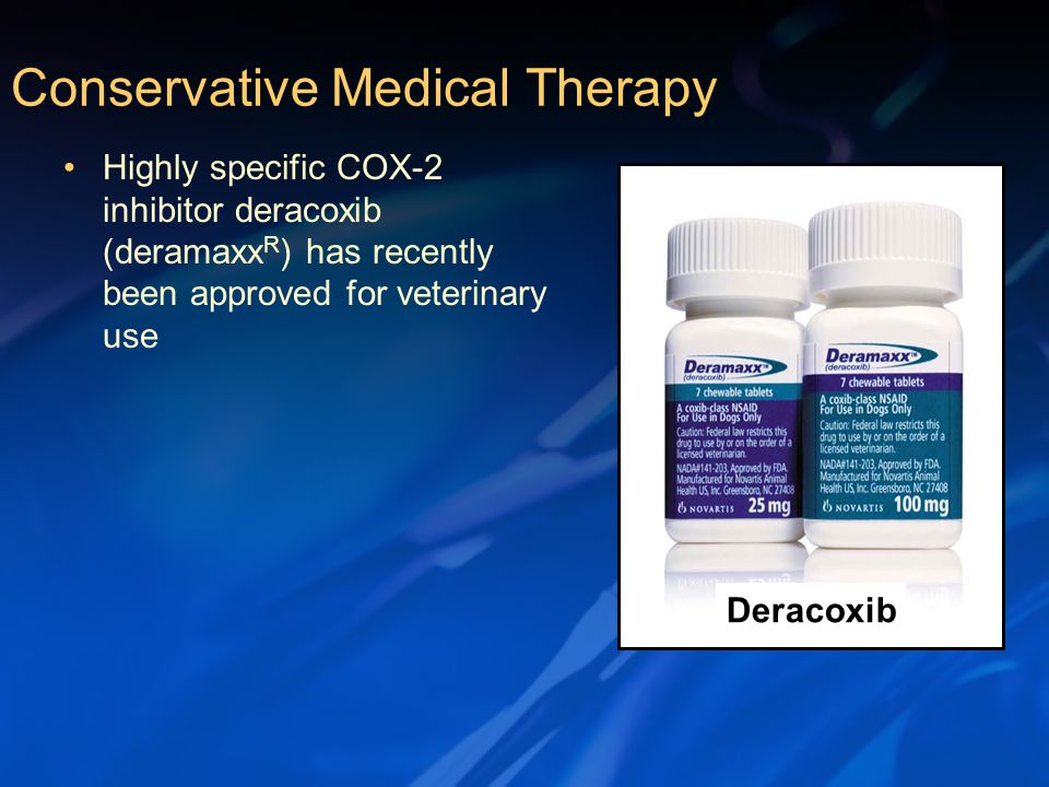 Highly specific COX-2 inhibitor deracoxib (deramaxx R ) has recently been approved for veterinary use Conservative Medical Therapy Deracoxib